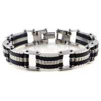 1.2cm Width Stainless Steel Silicone Bike Chain Link Bracelet Cool Men Bracelets Wholesale High Quality Jewelry