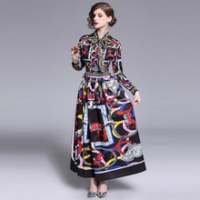 ARiby 2019 Spring New Fashion Women Dress High Street Long-sleeved Empire Bow Tie Pleated Printed  A-Line Ankle-Length Dress anne klein new women s size 2 pink printed collared a line pleated dress $119 page 4