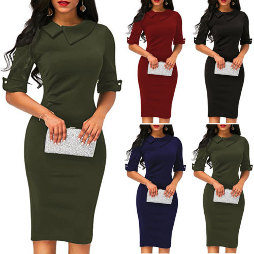 hirigin Women Bandage Half Sleeve Evening Party Work Office Dresses Size S to XL