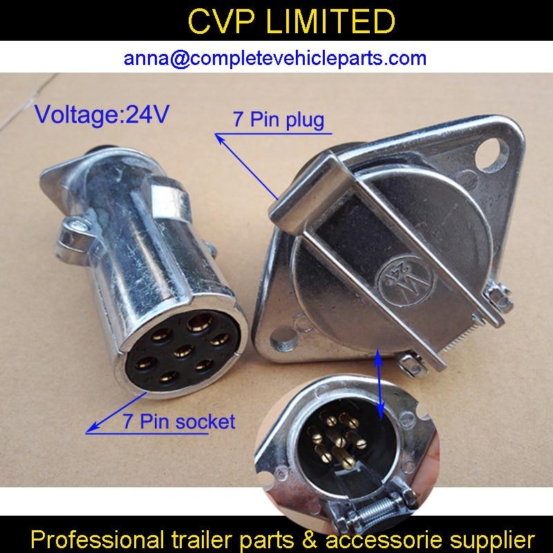 12V 7 Pin Electrical Plug Sockets Round Trailer Plug Male and Female ...
