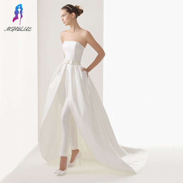 New White Long Celebrity Dresses Inspired With Pants Stain Off the Shoulder Zipper Back Sweep Train Formal Women Prom Dress
