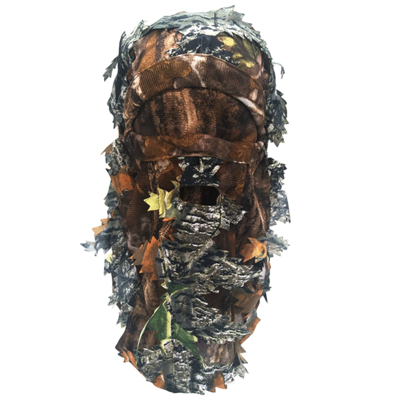 Camouflage Face Mask 3D Leaf Stereo Turkey Hunting Mask Hat Camo Face Mask Balaclava Woodland Full Face Mask Cs