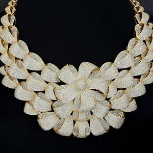 Image 2 - יוקרה גדול פרח שרשרת צמיד עגיל טבעת תכשיטי סטי מעוקב Zirconia לחתונה אירוסין יום נישואים ביצועים
