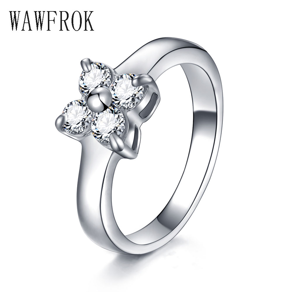 Womens Engagement Ring Top Quality Elegant Silver Color