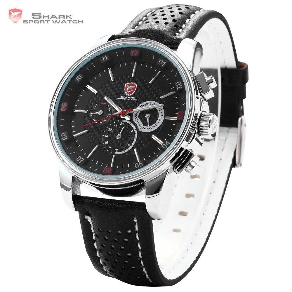Montre de Sport Pacific Angel requin 6 mains calendrier boîte en acier inoxydable noir cuir Relojes hommes Quartz poignet étiquette montre/SH092 - 3