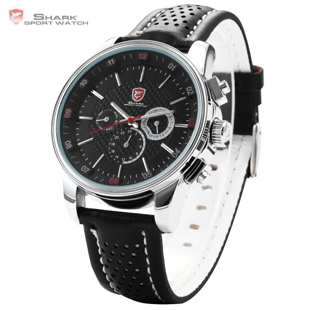 849abf8b09ce Pacific Angel SHARK Reloj Deportivo Negro Acero Inoxidable Movimiento de  Cuarzo 6 manos calendario caja cuero etiqueta muñeca pulsera de los hombres    SH092 ...