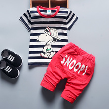 DIIMUU 2PC Toddler Baby Boy Clothes Summer Suits Kids Children Boys Clothing Striped Cartoon SNOOP T-Shirt Pants Sets Fit 1-4Y