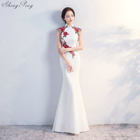 2018 white Cheongsam Sexy Long Qipao Evening Dress Chinese Traditional Women Clothing Oriental Dresses Retro Dressing Gown V811