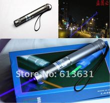 Discount! 5w 5000mw Blue Laser Pointer 450nm Focusable Burning Torch + Paper Box+ Charger+Free Shipping / Silver Shell