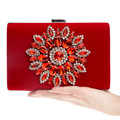 Novel Chinese Style Lady Diamond Clutch Purse Upscale Luxury Velour Mini Women Clutch Evening Bag Party Bag With Shoulder Chain