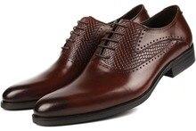 Дышащие оксфорды обувь мужская бизнес обувь из натуральной кожи туфли мужские офисные туфли