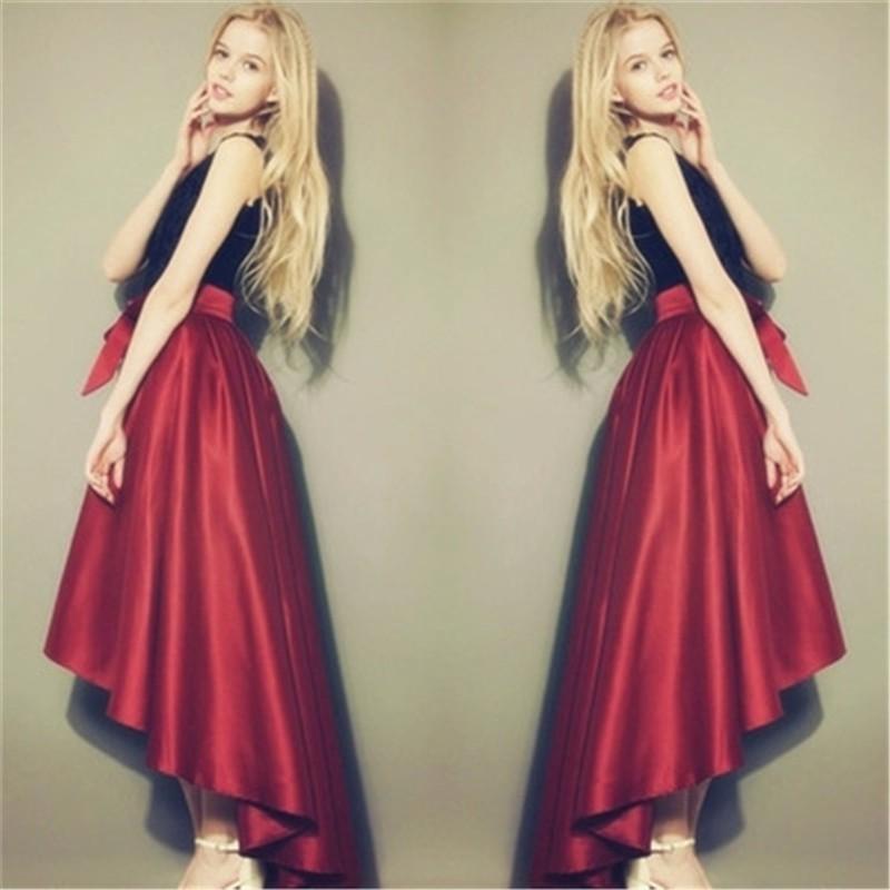 Autumn Maxi Long Skirts Womens Runaway Satin Vintage High Waist  Asymmetrical Mermaid Red Bow Belt Skirt 2016 Plus Size 7XL saias faldas  largas 11b9b55a1fc7