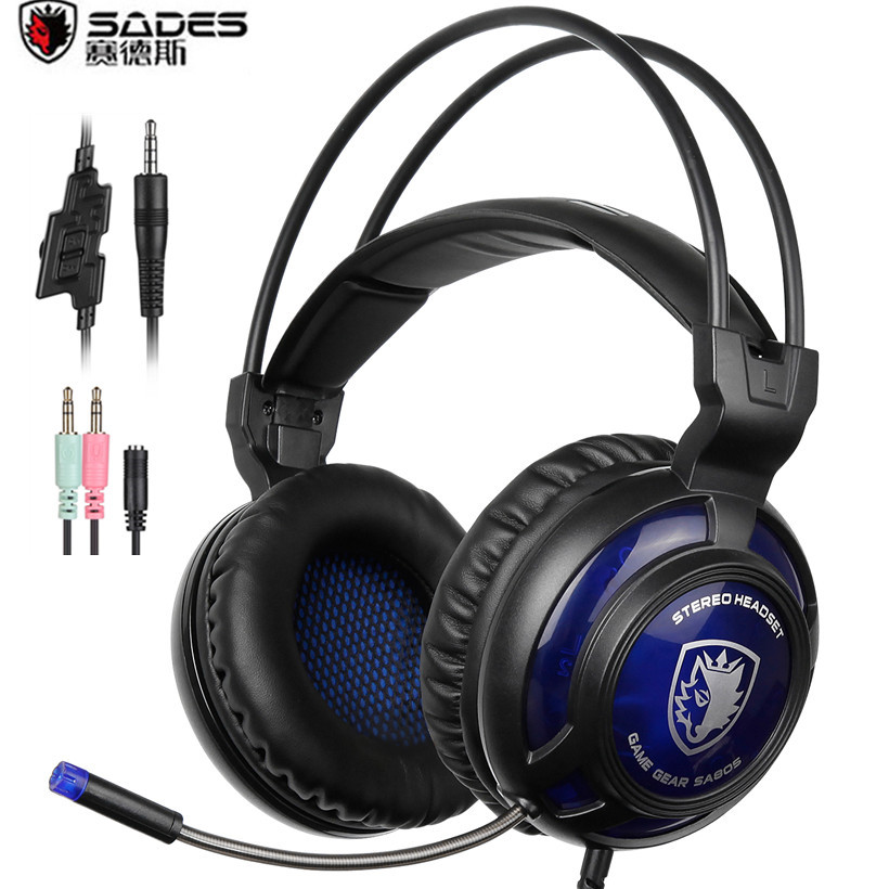 Sades SA805 PS4 Gaming Headset Surround Stereo Over Ear Noise Canceling Headphones with Mic for 2016 New Xbox One/PC/PS4/Phone цена
