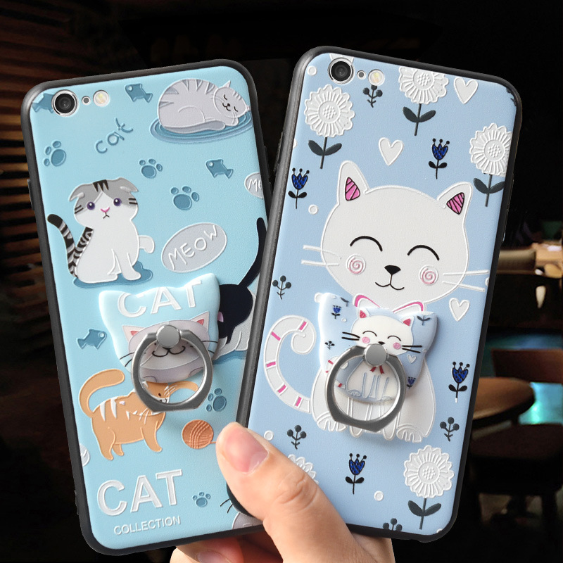 Galleria fotografica OLOEY for iPhone 5 5S 6 6S 6 7 8 Plus X Case Cover Ultra Thin 3D Relief Cat Silicone TPU PC Coque for iPhone 5 5S 6 6S 7 8 Capas