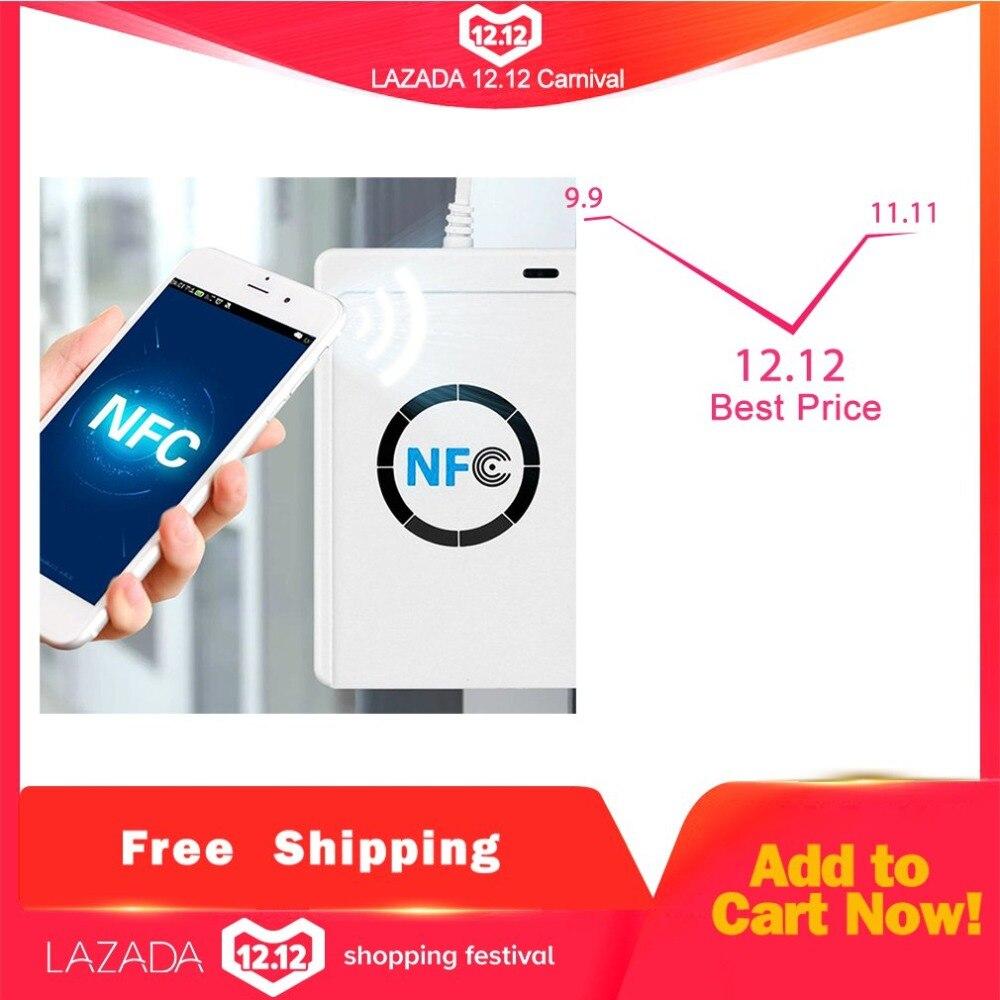 NFC ACR122U RFID tarjeta inteligente lector y escritor de copiadora duplicador de escritura clon Software USB S50 13,56 mhz ISO/IEC18092 + 5 piezas M1 tarjetas