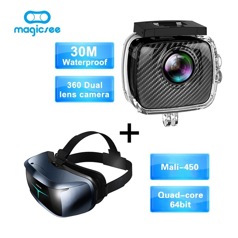 Magicsee P3 Sport Action camera 360 Camera Dual Lens waterproof case+Magicsee M2 all in one Quad Core <font><b>VR</b></font> 3D <font><b>Glasses</b></font>