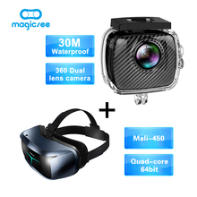 Magicsee P3 Sport Action camera 360 Camera Dual Lens waterproof case+Magicsee M2 all in one Quad Core VR 3D Glasses