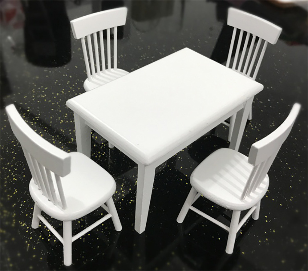 1:12 Scale Dollhouse Kitchen Furniture Set Dining Room for Kids Toys White