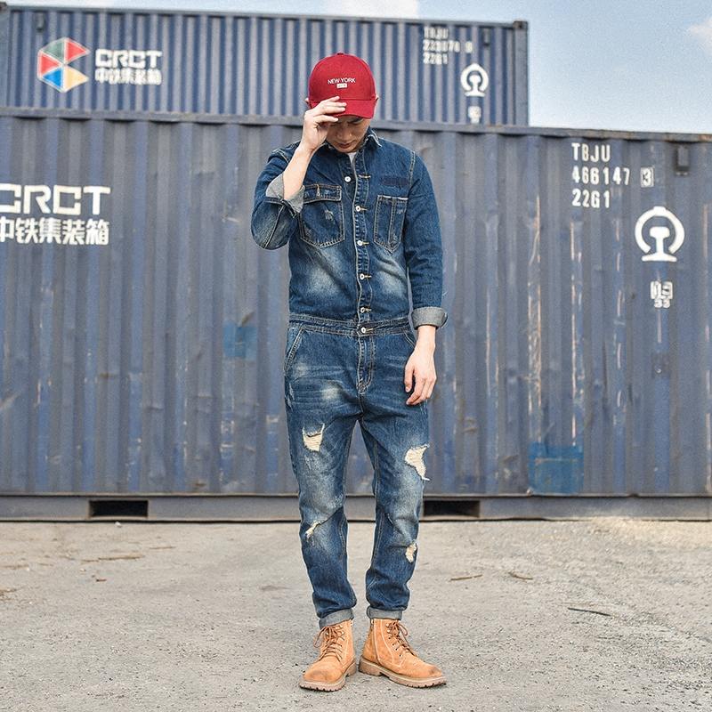 New Fashion Men's Ripped Denim Bib Overalls With Jackets Distressed Jeans Jumpsuits For Male Work Suit Stage Costumes