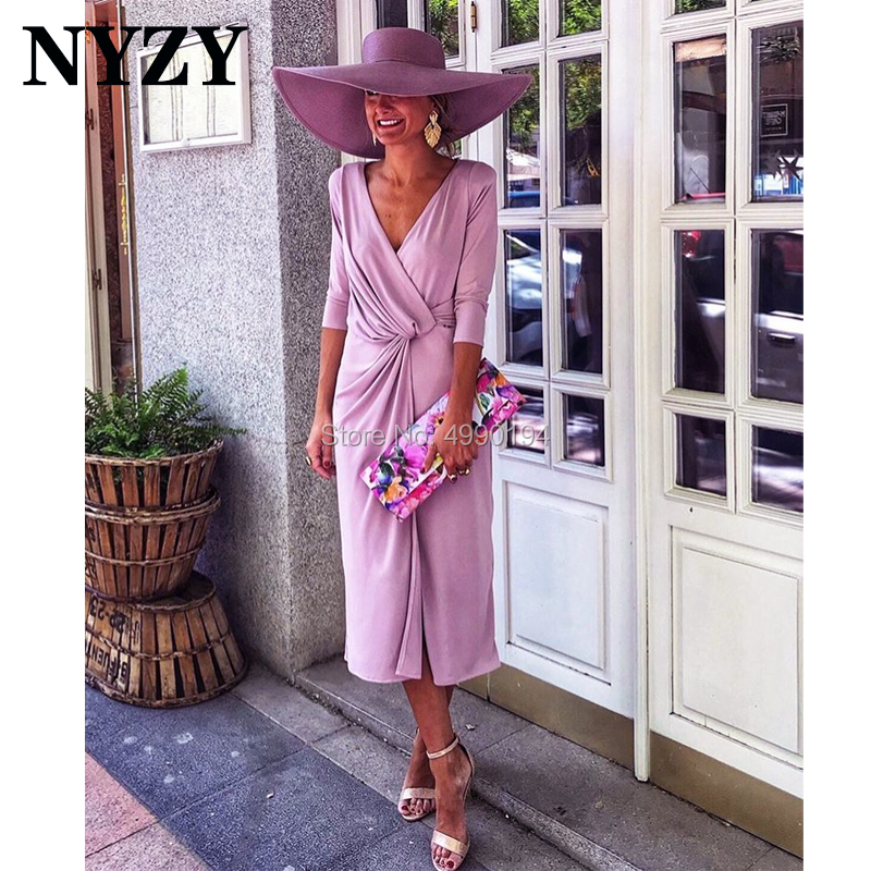 Lilac Stretch Jersey V Neck 3/4 Sleeves Elegant Mother Of The Bride Groom Dresses NYZY M234 Church Suits Wedding Party Dress