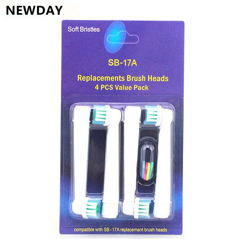 Newday 4Pcs/lot Replacement Electric Toothbrush Heads For Oral B EB 17 SB-17A Hygiene Care Clean Electric Tooth Brush 20pcs lot lr3410 irlr3410 17a 100v