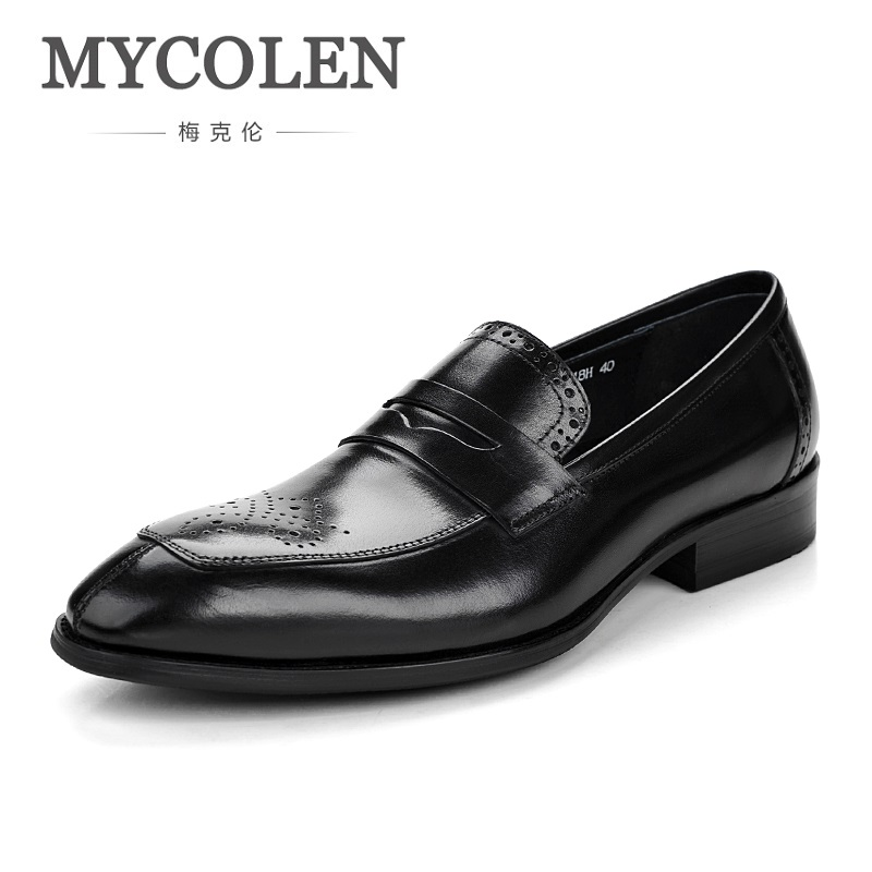 все цены на MYCOLEN 2018 NEW Brogue Men Shoes High Quality Pointed Toe Shoes Men Leather Dress Shoes Comfort Luxury Brand Man Shoes