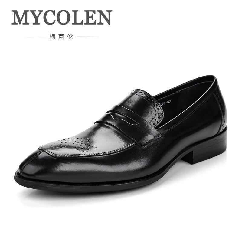Mycolen 2018 Новый Brogue Мужская обувь с острым носком высокого качества Для мужчин Кожаные модельные туфли Обувь комфорт Элитный бренд Мужская об...