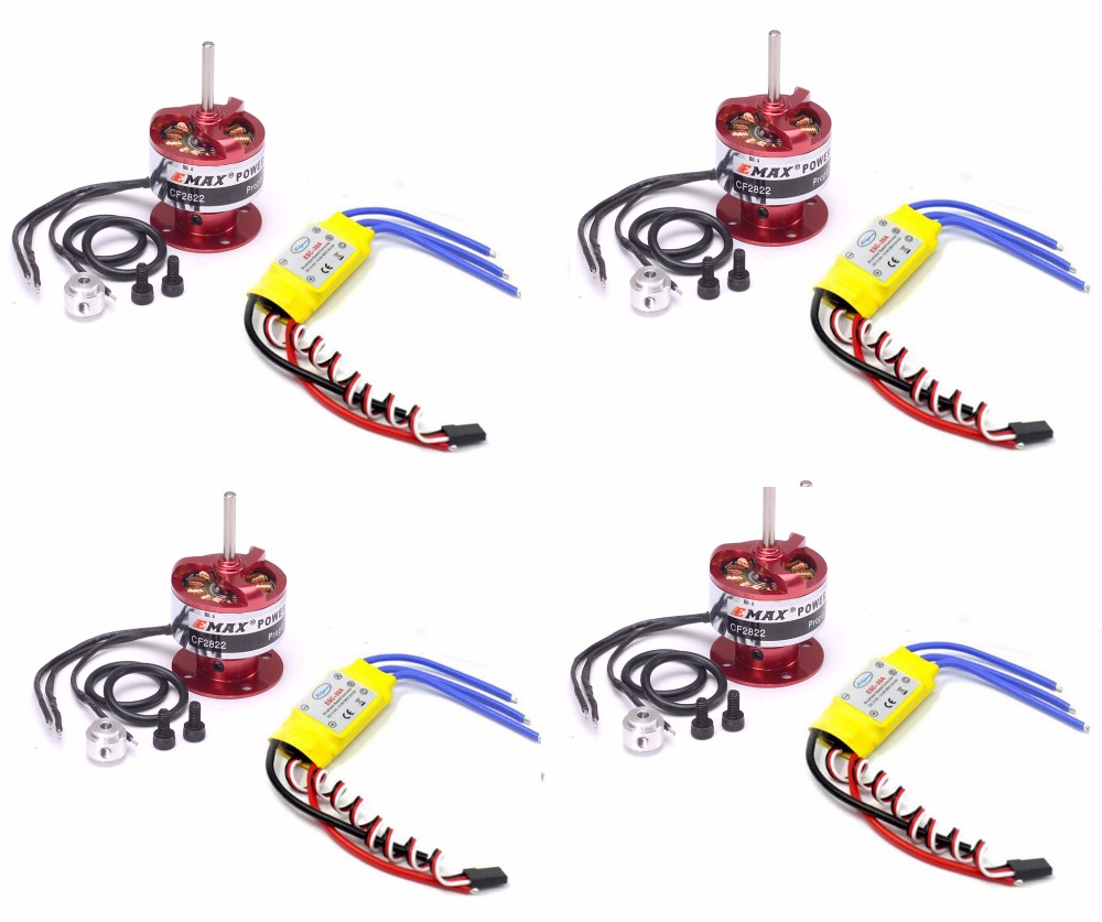 4pcs 30A Brushless ESC Speed Controller + 4pcs EMAX CF2822 1200KV Brushless Motor brushless drone 30a motor esc speed controller emax 1200kv motor for quadcopter