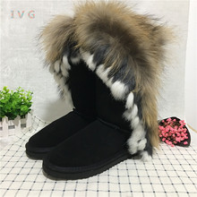 2017 Women's winter boots Australia Classic Tall Fox fur pattern ugs Snow Boots Warm Leather Ankle Brand IVG size 4-13