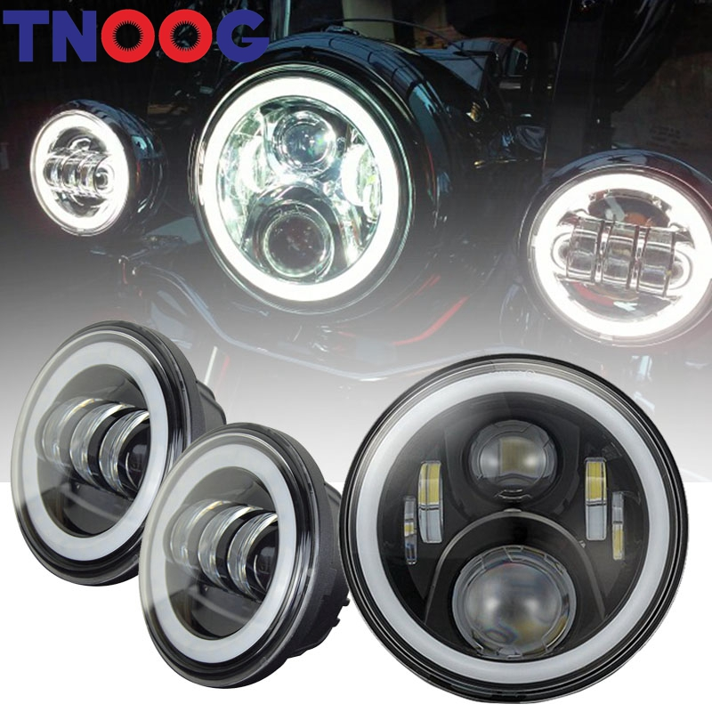 TNOOG Harley Daymaker 7 Inch Round LED Headlight with Matching 4.5 Inch LED Passing Lamps for Harley Davidson Motorcycles 7 inch motorcycles headlight for harley davison choppers