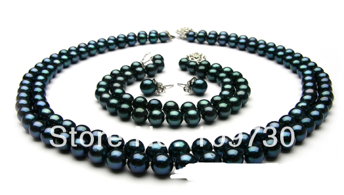 """Jewelry 00658 18"""" AAA round black Freshwater Pearl necklace 8"""" braclet earrings jewelry set (A0513)"""
