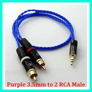 1M 12 Cores FLAT BRAID SILVER PLATED CABLE 3.5MM STEREO TO 2 RCA MALE PLUGS AUDIO ADAPTER CABLE