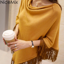 NiceMix 2016 Spring Autumn Cape Ladies Batwing Sweater Women Tassel Pacth Casual Loose Knitting Wool Pullover Poncho Sweaters