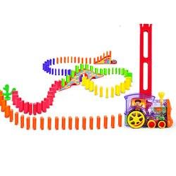 60 pces dominó trem carro conjunto ou ponte bell kit com 120 pçs colorido plástico dominó bloco crianças brinquedos presente de aniversário para o miúdo