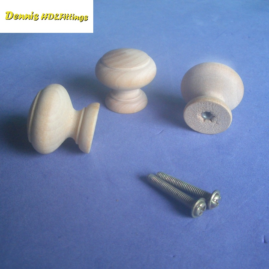 50PCS/LOT  Dia30*H26mm Unpainted Solid Samak Wood Knob Furniture Chest Drawer With Screws