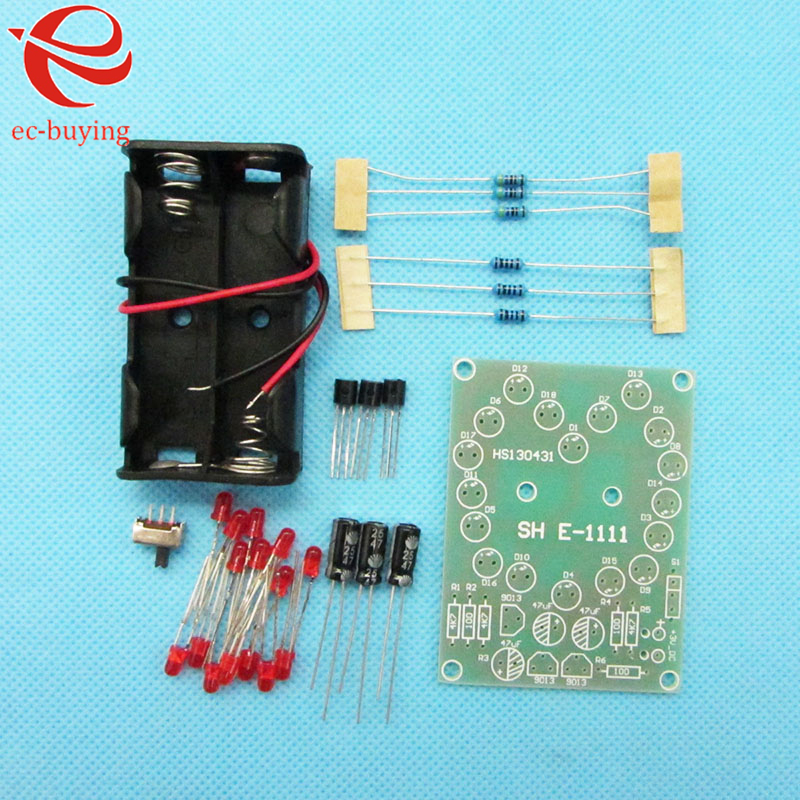 Integrated Circuits Active Components Heart Circulation Module 18 Red Led Electronic Parts Diy Kit Flashing Light Manual Welding Practice With Battery Case