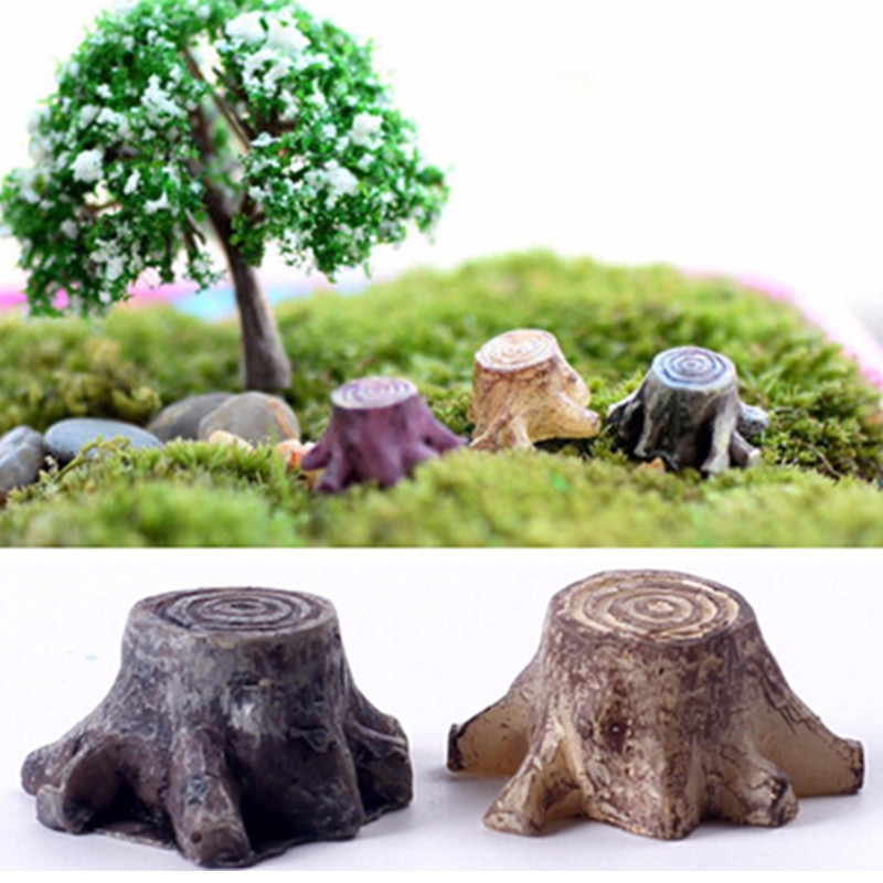 NEW Hot Sale Crafts Decorations Miniature Multicolour Tree Stump Fairy Terrarium Christmas Xmas Party Garden Gifts