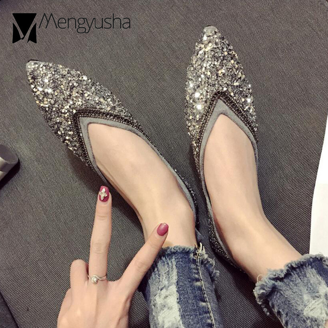 European Brand Glitter Flats Women Bling Crystal Ballet Shoes Silver