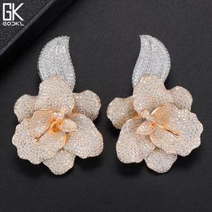 Image 3 - GODKI 66mm Trendy Luxury Rose Flower Nigerian Long Dangle Earrings For Women Wedding Zirconia CZ Dubai Dubai Silver Earrings