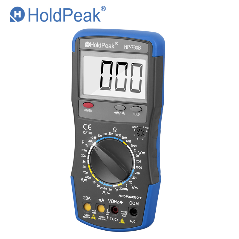HoldPeak HP 760B Digital Multimeter Meter with Frequency Temperature Capacitance Resistance Tester with Carry Bag Muitimetor