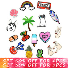 1pcs diy patches for clothing iron on cute fashion embroidery patch applique parches ropa stickers clothes sew