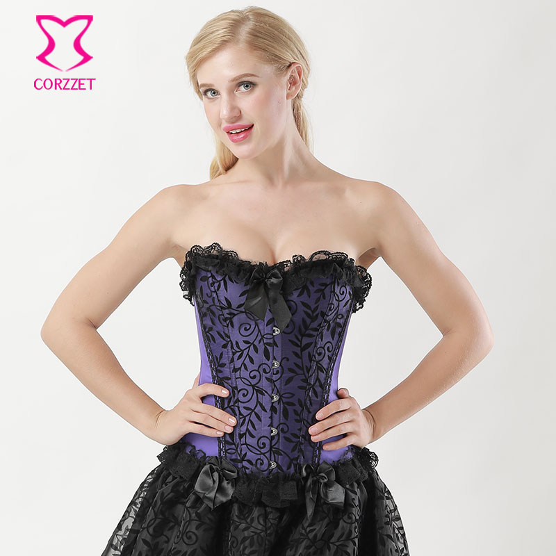 6XL Purple Satin Vine Flocking   Bustier   Sexy   Corset   Victorian Corpetes E Corselet Plus Size   Corsets   And   Bustiers   Gothic Clothing