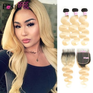 POSH BABE Blonde Ombre Colored Bundles with Lace Closure,5x5 Closure with Weft 1B 613 Body Wave Remy Brazilian Hair Weave Bundle(China)