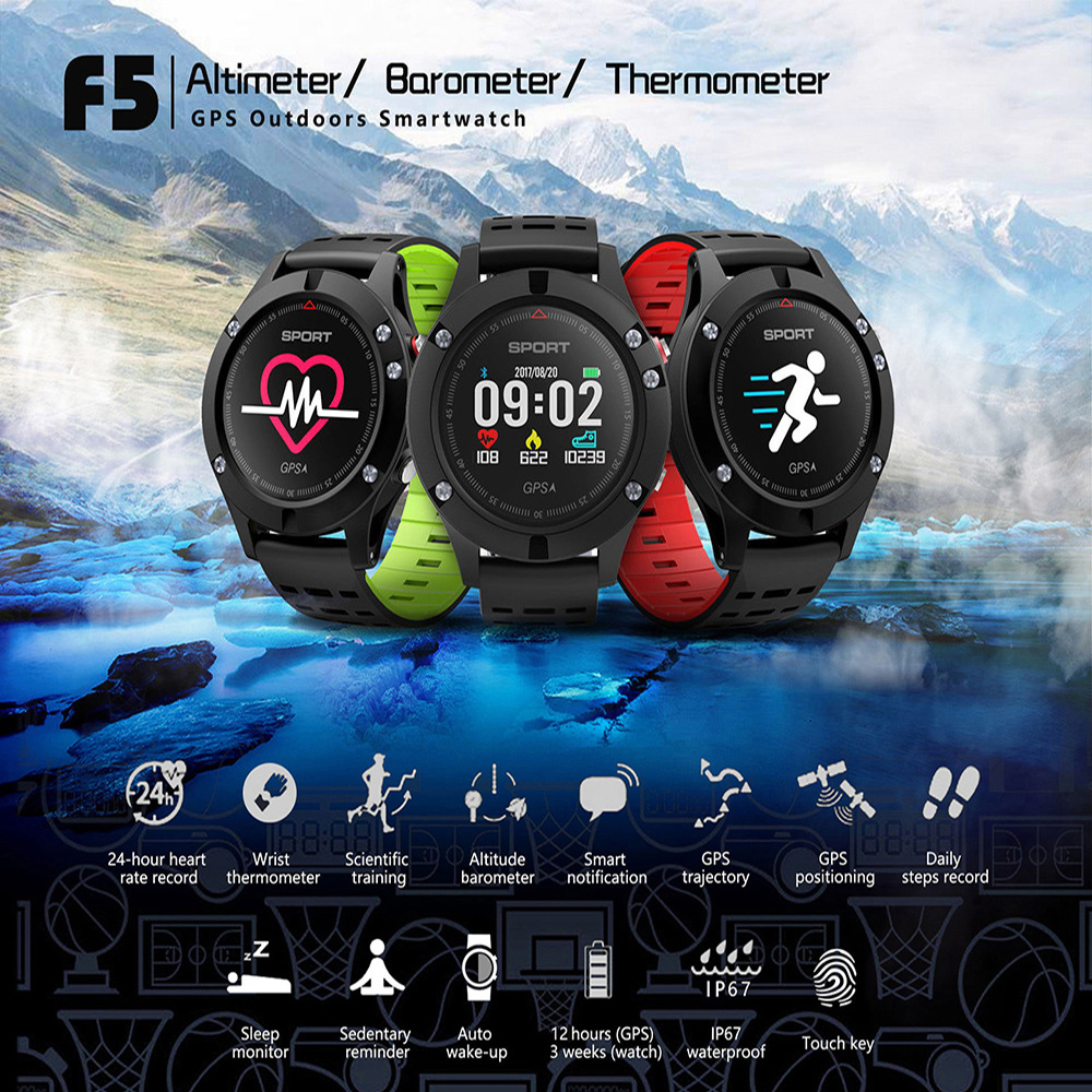 NO.1 F5 Smart Watch IP67 Heart Rate Monitor GPS Multi-Sport Mode OLED Altimeter Bluetooth Fitness Tracker Android iOS waterproof fs08 gps smart watch mtk2503 ip68 waterproof bluetooth 4 0 heart rate fitness tracker multi mode sports monitoring smartwatch