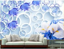 Home Decoration customized wallpaper for walls Dream orchid three - dimensional circle custom 3d photo wallpaper(China)