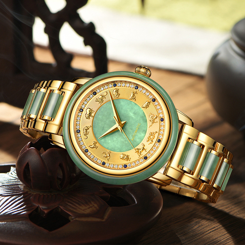 2019 Customized Explosive Jadeite Watch Wholesale Craft Gift For Imported Machine Core Steel Couple Watches