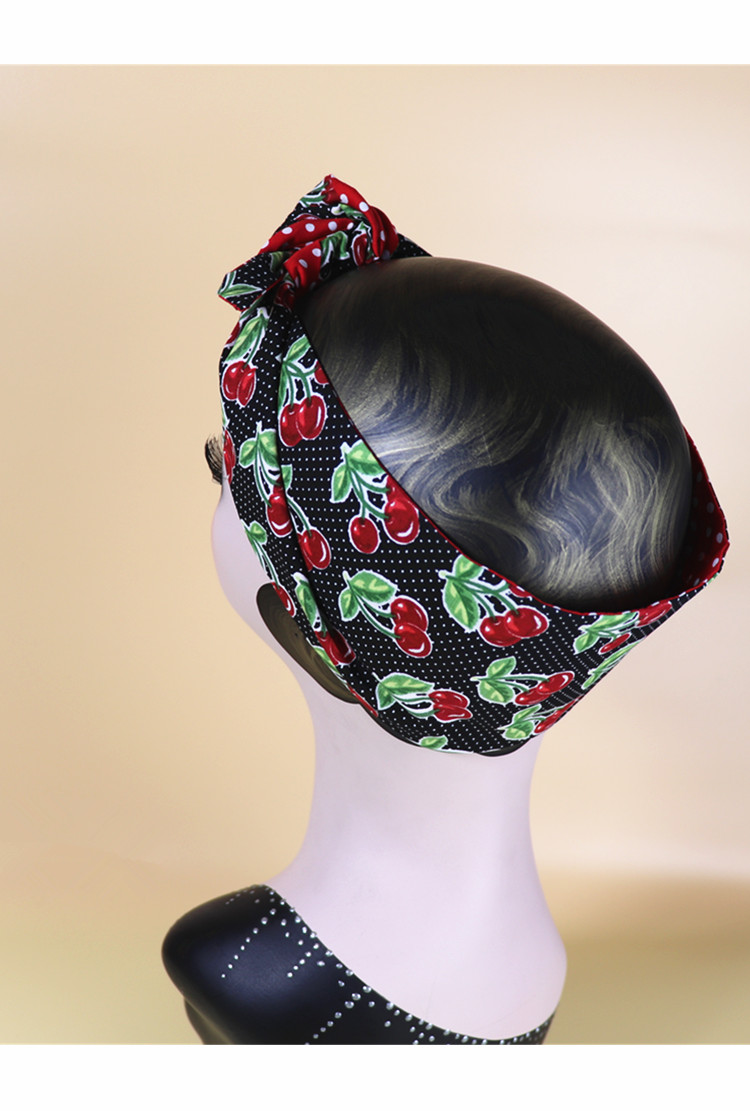 HEAD SCARF HAIR BAND black red tropical print bow stretch jersey rockabilly new