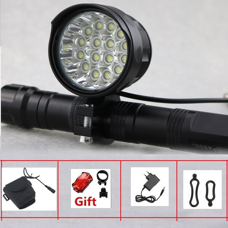 Rechargeable 27000 Lumen Led LBike Light 16x Cree XML T6 Cycling Bicycle Torch 16T6 Led Road Bike Lamp With 18650 Battery Pack 2000 lumen usb 18650 battery rechargeable bike light 2x cree xml t6 led bicycle lamp flashlight with adjustable bracket