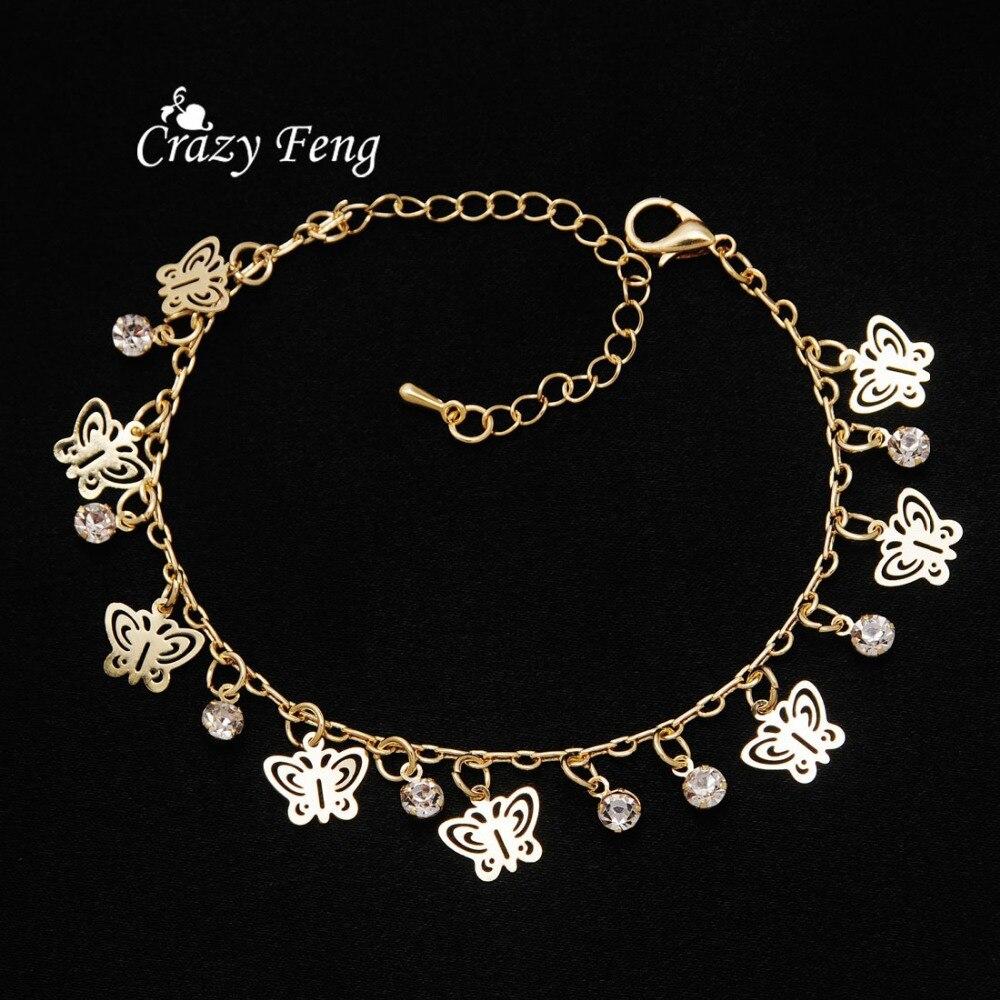 Nouveau Design de mode or-couleur papillon forme bracelets pour femme main chaîne bijoux cadeau livraison directe - 5