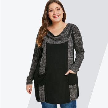 Rosegal Plus Size Contrast T-Shirt Female Casual Cowl Neck Long Sleeve Double Pocket T Shirt Women Clothing Big Size Ladies Tops